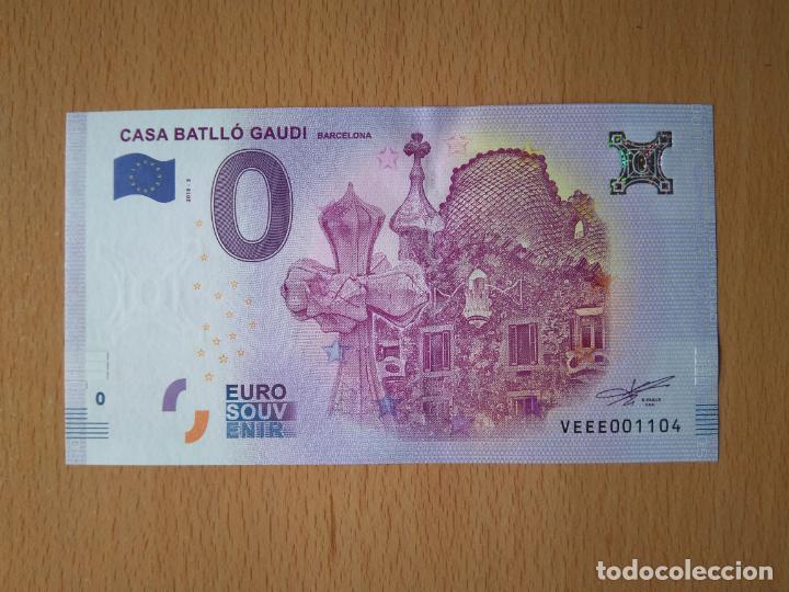 BILLETE 0 EUROS CASA BATLLO DE BARCELONA AUTOR GAUDI MODERNISMO EURO ESPAÑA SAGRADA FAMILIA EIFFEL (Numismática - Notafilia - Variedades y Errores)