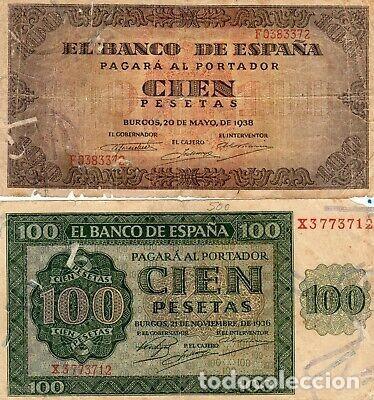 LOTE BILLETES GUERRA CIVIL 100 PESETAS BURGOS 1936 Y 38. (Numismática - Notafilia - Variedades y Errores)