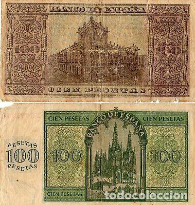 Billetes con errores: LOTE BILLETES GUERRA CIVIL 100 PESETAS BURGOS 1936 y 38. - Foto 2 - 214270600