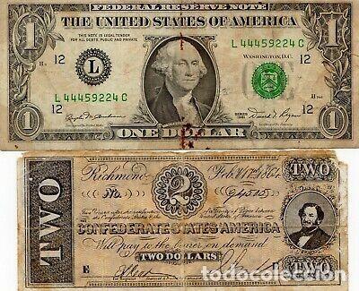 RARISIMO BILLETE 2 DÓLARES CONFEDERADOS GUERRA CIVIL AMERICANA. USA. (Numismática - Notafilia - Variedades y Errores)