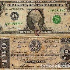 Billetes con errores: RARISIMO BILLETE 2 DÓLARES CONFEDERADOS GUERRA CIVIL AMERICANA. USA.. Lote 214270747
