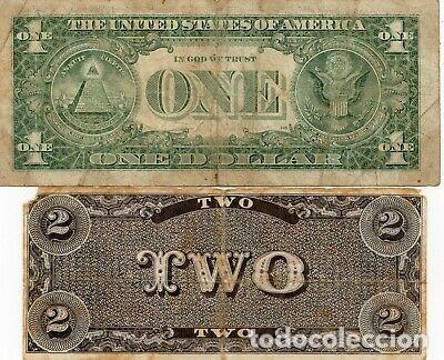 Billetes con errores: RARISIMO BILLETE 2 DÓLARES CONFEDERADOS GUERRA CIVIL AMERICANA. USA. - Foto 2 - 214270747