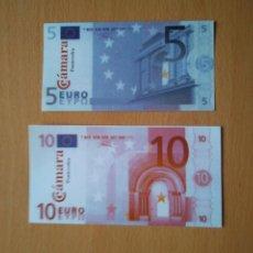 Billetes con errores: PRUEBA ESPECIMEN EURO CÁMARA COMERCIO PONTEVEDRA BILLETE 5 Y 10 EUROS FACSIMILES. GALICIA CAIXANOVA. Lote 216364507