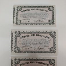 Notas com erros: 3 BILLETES DE 100 PESETAS PAPEL DE FIANZAS INSTITUTO NACIONAL DE VI VIVIENDA 1940. Lote 218844003