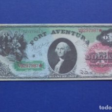 Banconote con errori: PARQUE PORT AVENTURA .1 DOLAR FANTASIA. Lote 219219548
