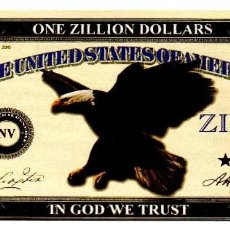 Billetes con errores: BILLETE DE USA DE ONE ZILLION DOLLARS EN PERFECTO ESTADO. Lote 221566972