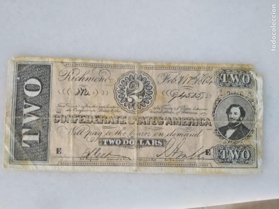 Billetes con errores: RARISIMO BILLETE 2 DÓLARES CONFEDERADOS GUERRA CIVIL AMERICANA. USA. - Foto 3 - 214270747