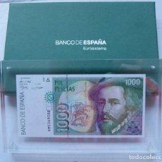Banconote con errori: BILLETE 1000 PESETAS 1992 ANULADO Y EN METACRILATO CON CAJA DEL BANCO DE ESPAÑA. Lote 224044871