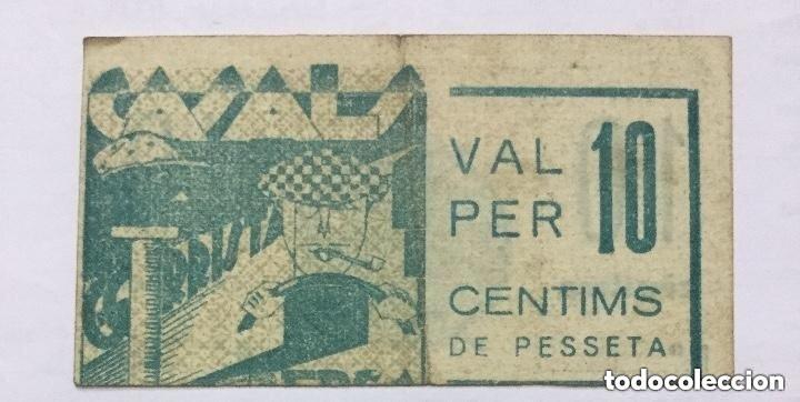 BILLETE VALE 10 CENTIMOS DE PESETA - CASALS - GORRISTA - BERGA - ERROR DE IMPRESION DESPLAZADO RARO (Numismática - Notafilia - Variedades y Errores)
