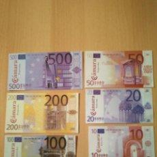 Billetes con errores: FACSIMIL BILLETES EURO CÁMARA PONTEVEDRA COLABORACIÓN CAIXANOVA SÉRIE COMPLETA PRUEBAS GALICIA. Lote 233025475