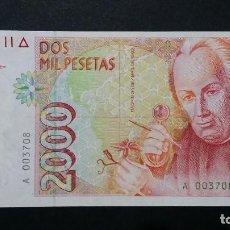 Billetes con errores: ESPAÑA - BILLETE- 2000 PESETAS 1992 SERIE A NUMERO BAJO SC UNC ( T076 ). Lote 237382745