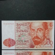 Billetes con errores: ESPAÑA - BILLETE- 2000 PESETAS 1980 PAREJA SERIE ESPECIAL 9A SC UNC ( T094 ). Lote 237385595