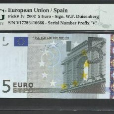 Notas com erros: ESPAÑA - BILLETE- 5 EUROS TRICHET V-013I4 PMG 65 ( T135 ). Lote 237551235