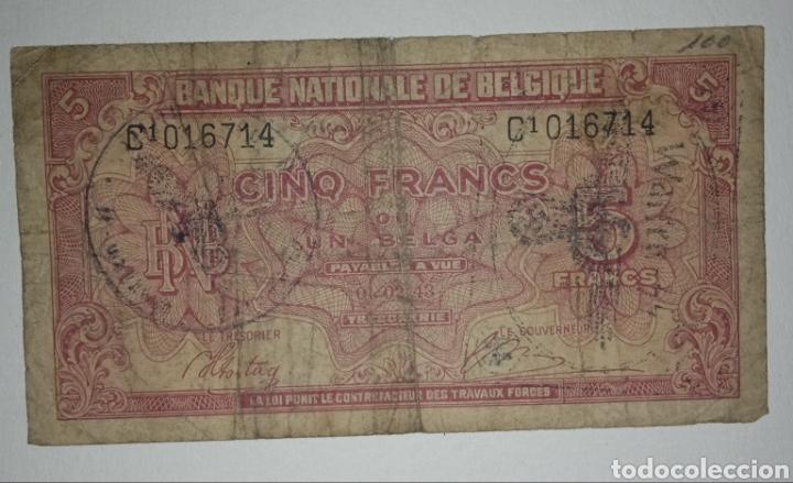 B-1.2 BILLETE OCUPACIÓN NAZI EN BÉLGICA. SEGUNDA GUERRA MUNDIAL. 5 FRANCOS (Numismática - Notafilia - Variedades y Errores)