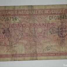 Billetes con errores: BILLETE OCUPACIÓN NAZI EN BÉLGICA. SEGUNDA GUERRA MUNDIAL. 5 FRANCOS. Lote 241157975