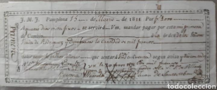 PAGARÉ 1000 FRANCOS - PAMPLONA - GUERRA DE LA INDEPENDENCIA (Numismática - Notafilia - Variedades y Errores)