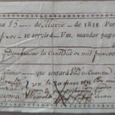Billetes con errores: PAGARÉ 1000 FRANCOS - PAMPLONA - GUERRA DE LA INDEPENDENCIA. Lote 247397000