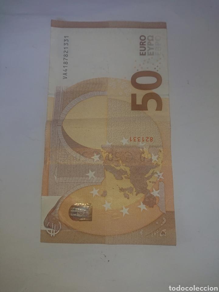 BILLETE DE 50 EUROS CON ERROR DESPEGADO PARTE SUPERIO ISQUIERDA REVERSO VER FOTOS (Numismática - Notafilia - Variedades y Errores)