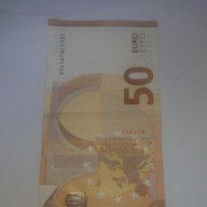 Billetes con errores: BILLETE DE 50 EUROS CON ERROR DESPEGADO PARTE SUPERIO ISQUIERDA REVERSO VER FOTOS. Lote 256036200
