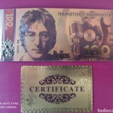 Banconote con errori: *RARÍSIMO BILLETE RUSO, THE BEATLES, EN ORO LAMINADO DE 24K, CON CERTIFICADO DE GARANTÍA. Lote 261360160