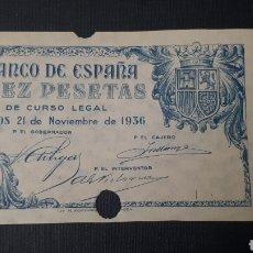 Billetes con errores: 10 PESETAS 1936 BURGOS ERROR (SIN CALCOGRAFÍA) CON FICHA SUBASTA AUREO & CALICÓ. Lote 263097780