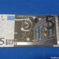 Banconote con errori: BILLETE 5€ EN LAMINA DORADA CON COLOR. Lote 264268828