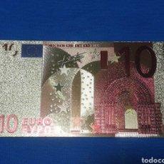 Banconote con errori: BILLETE DE 10€ EN LAMINA DORADA CON COLOR. Lote 264269152