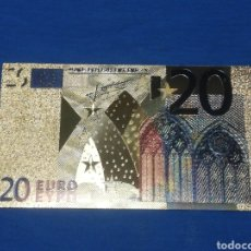 Banconote con errori: BILLETE DE 20€ EN LAMINA DORADA CON COLOR. Lote 264269236