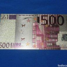 Banconote con errori: BILLETE DE 500€ EN LAMINA DORADA CON COLOR. Lote 264269748