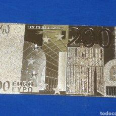 Banconote con errori: BILLETE DE 200€ EN LAMINA DORADA. Lote 264270912