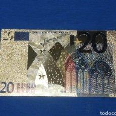 Billetes con errores: BILLETE DE 20€ EN LAMINA DORADA CON COLOR. Lote 269002934