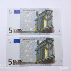 Billetes con errores: PAREJA CORRELATIVA DE BILLETES DE 5 EUROS PLANCHA CON ERROR DE IMPRENTA ( SIN BANDA DE SEGURIDAD ) .. Lote 270873473