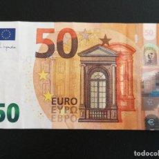 Billetes con errores: BILLETE 50 EURO 2017 CECA V (ESPAÑA) FIRMA CHRISTINE LAGARDE. RARO, PINTA MANCHADA. Lote 296600228