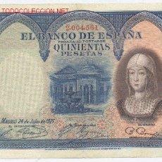 Billetes españoles: 500 PESETAS- 24-07-1927-EBC-. Lote 844667