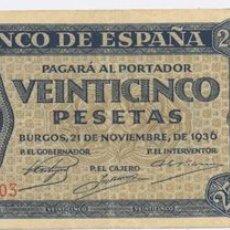 Billetes españoles: 25 PESETAS- 21-11-1936. Lote 924336