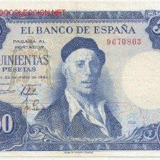 Billetes españoles: 500 PESETAS- 22-07-1954. Lote 926169
