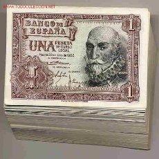 Billetes españoles: 10 BILLETES 1 PESETA 1953 PLANCHA , PUEDE SER DE CUALQUIER SERIE. NO TODOS CORRELATIVOS. Lote 87121154