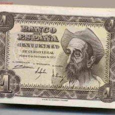 Billetes españoles: 2 BILLETES 1 PESETA 1951 PLANCHA PAREJA, CORRELATIVOS, TEMA QUIJOTE .. Lote 84686768