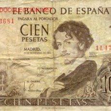 Billetes españoles: BILLETE DE CIEN PESETAS. Lote 26832691