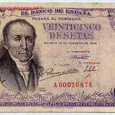 Billetes españoles: BILLETE 25 PESETAS 1946 SERIE A MBC , T874. Lote 23297778