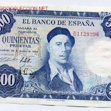 Billetes españoles: BILLETE DE 500 PESETAS 1954 , SERIE E , MBC++ T296. Lote 21655886