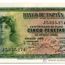 Billetes españoles: BILLETE 5 PESETAS 1935 SERIE J PLANCHA LUJO. Lote 23261867