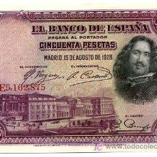Billetes españoles: BILLETE 50 PESETAS 1928 PLANCHA LUJO SERIE E. Lote 161980189