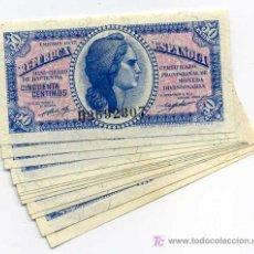 Billetes españoles: 10 BILLETES 50 CENTIMOS 1937 PLANCHA SERIE B CORRELATIVOS . Lote 26499445