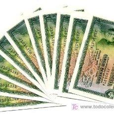 Billetes españoles: LOTE 10 BILLETES 5 PESETAS 1935 PLANCHA SERIE J CORRELATIVOS. Lote 23700919