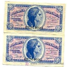 Billetes españoles: LOTE 10 BILLETES 50 CENTIMOS 1937 PLANCHA SERIE C , MUY RARA , CORRELATIVOS. Lote 142100145