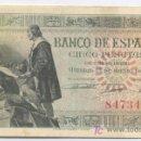 Billetes españoles: 5 PESETAS- 15-06-1945- EBC. Lote 4014470
