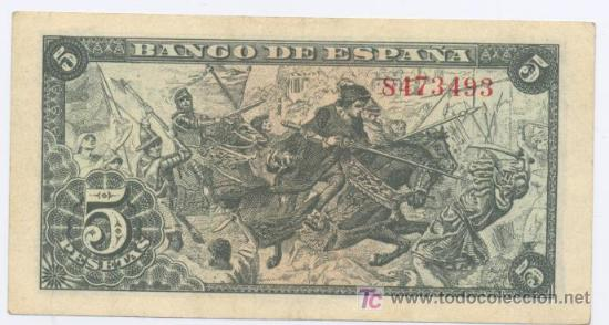 Billetes españoles: 5 PESETAS- 15-06-1945- EBC - Foto 2 - 4014470