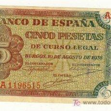 Billetes españoles: PRECIOSAS CINCO PESETAS 10 AGOSTO 1938 BURGOS SIN CIRCULAR MENOS. Lote 22756198
