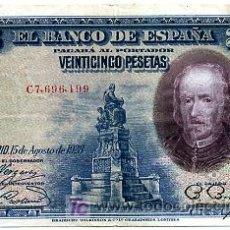 Billetes españoles: BILLETE 25 PESETAS 1928 MBC+ SERIE C T199. Lote 24043915